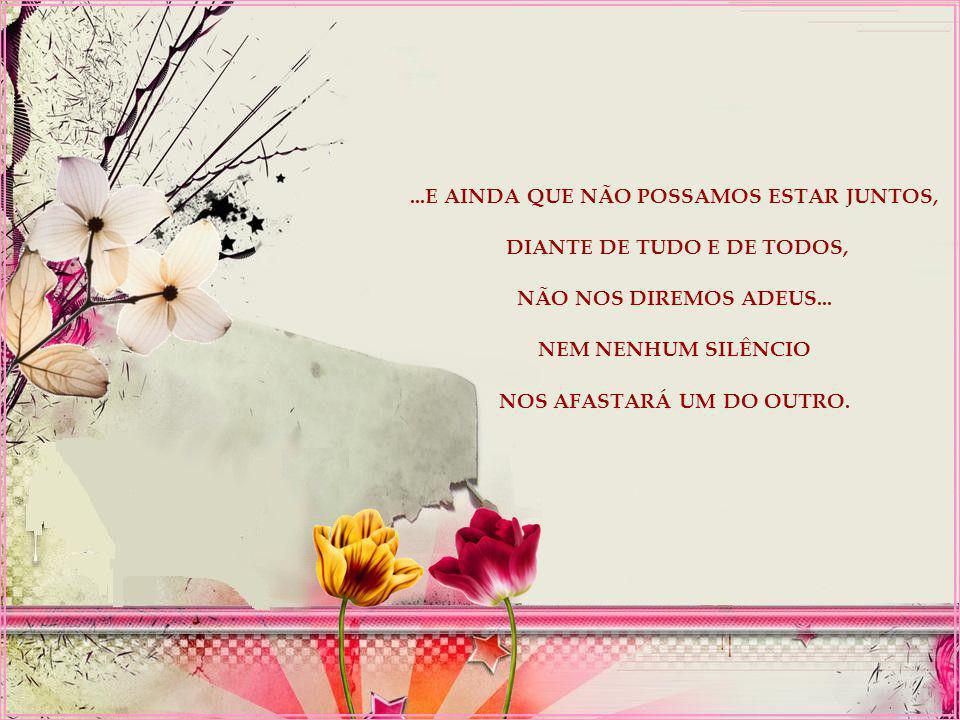 ...E AINDA QUE NÃO POSSAMOS ESTAR JUNTOS, DIANTE DE TUDO E DE TODOS, NÃO NOS DIREMOS ADEUS...