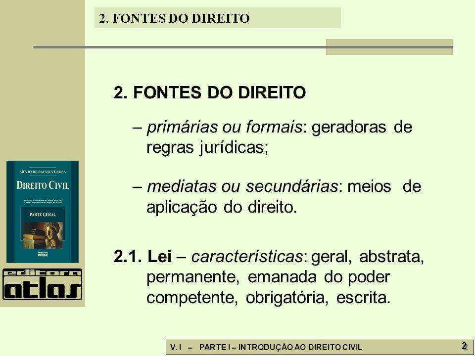 2.FONTES DO DIREITO V. I – PARTE I – INTRODUÇÃO AO DIREITO CIVIL 2 2 2.