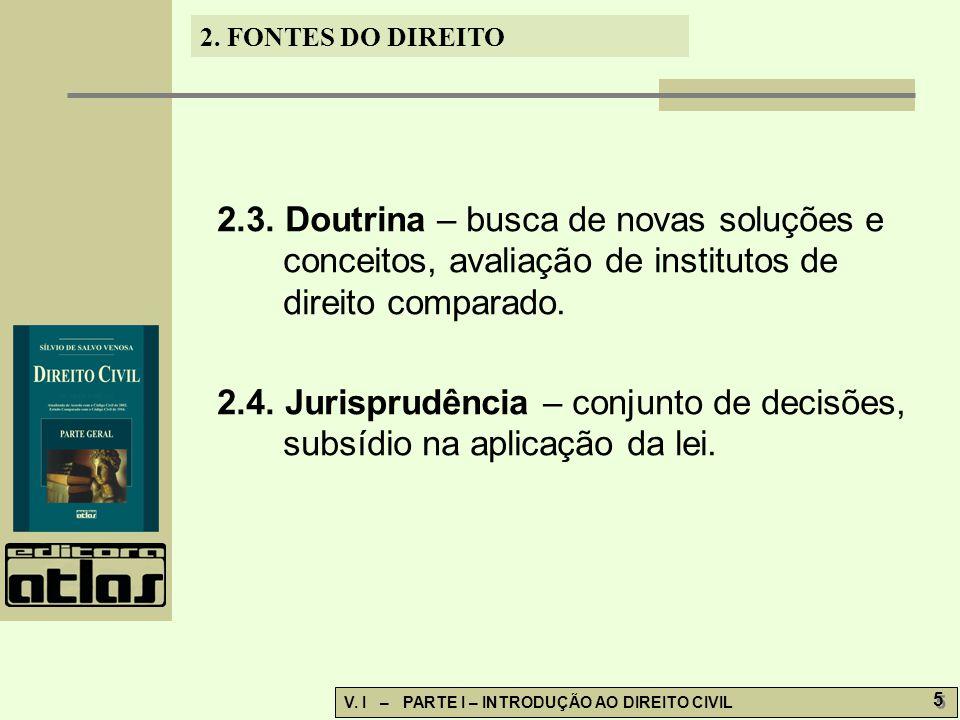 2.FONTES DO DIREITO V. I – PARTE I – INTRODUÇÃO AO DIREITO CIVIL 6 6 2.5.