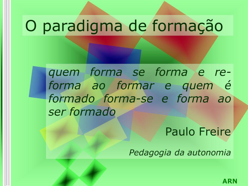 ARN O paradigma de formação quem forma se forma e re- forma ao formar e quem é formado forma-se e forma ao ser formado Paulo Freire Pedagogia da autonomia