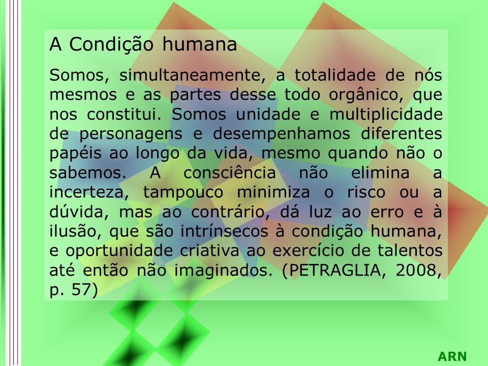 ARN A Condição humana Somos, simultaneamente, a totalidade de nós mesmos e as partes desse todo orgânico, que nos constitui. Somos unidade e multiplic