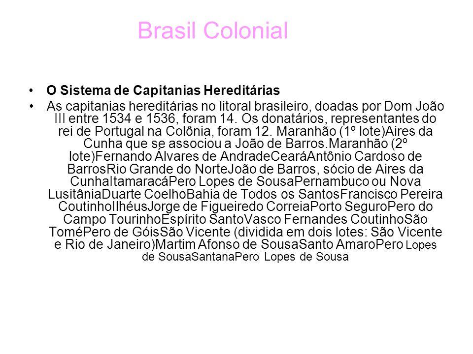 Brasil Colonial O Sistema de Capitanias Hereditárias As capitanias hereditárias no litoral brasileiro, doadas por Dom João III entre 1534 e 1536, foram 14.