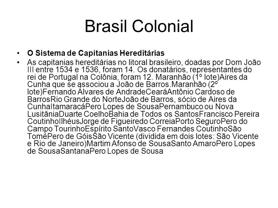 Brasil Colonial O Sistema de Capitanias Hereditárias As capitanias hereditárias no litoral brasileiro, doadas por Dom João III entre 1534 e 1536, fora