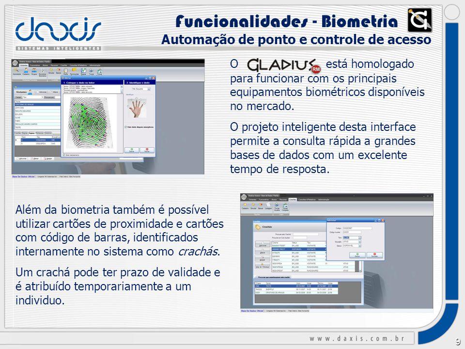 9 O está homologado para funcionar com os principais equipamentos biométricos disponíveis no mercado.