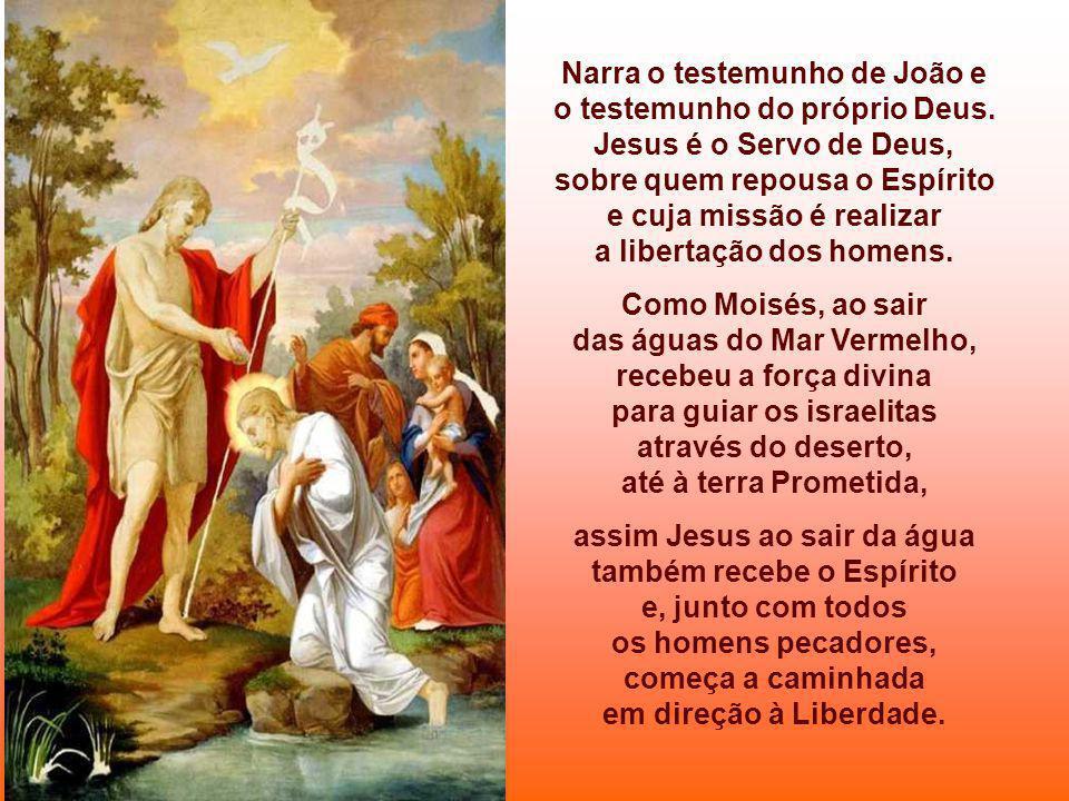 O Evangelho apresenta a concretização da promessa profética, no Baptismo de Jesus no Rio Jordão (cf. Mc 1,7-11) É o início do EVANGELHO DE MARCOS, que