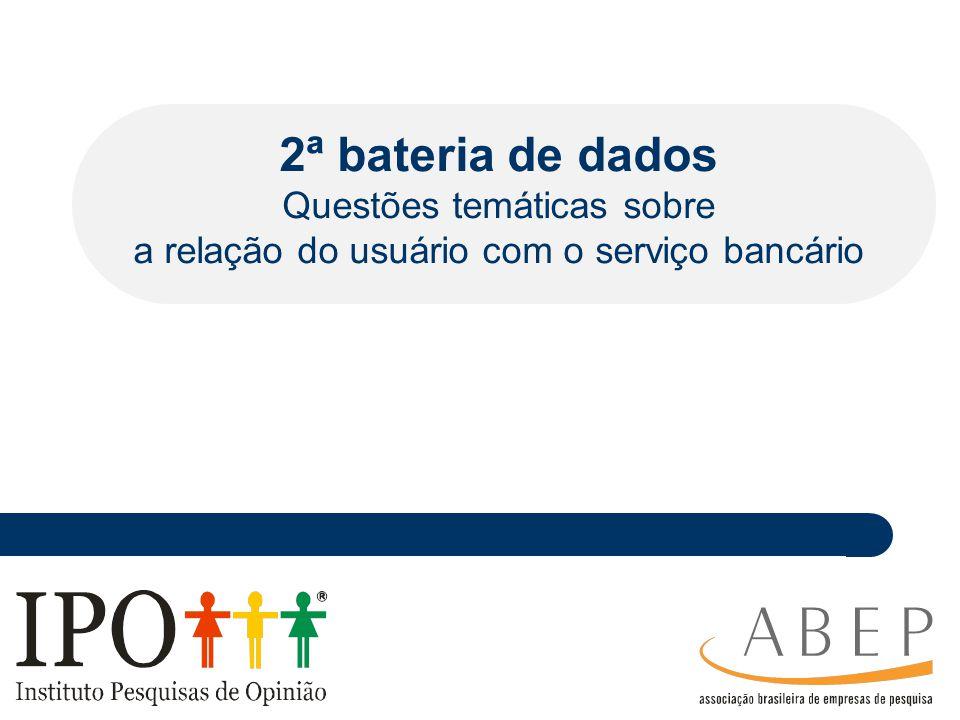 ________ _____ ____ ________ _ _______________ ___________ ________ _______ _ ___________ __ 2ª bateria de dados Questões temáticas sobre a relação do usuário com o serviço bancário