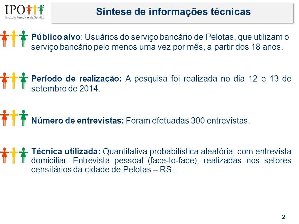 2 Síntese de informações técnicas Público alvo: Usuários do serviço bancário de Pelotas, que utilizam o serviço bancário pelo menos uma vez por mês, a