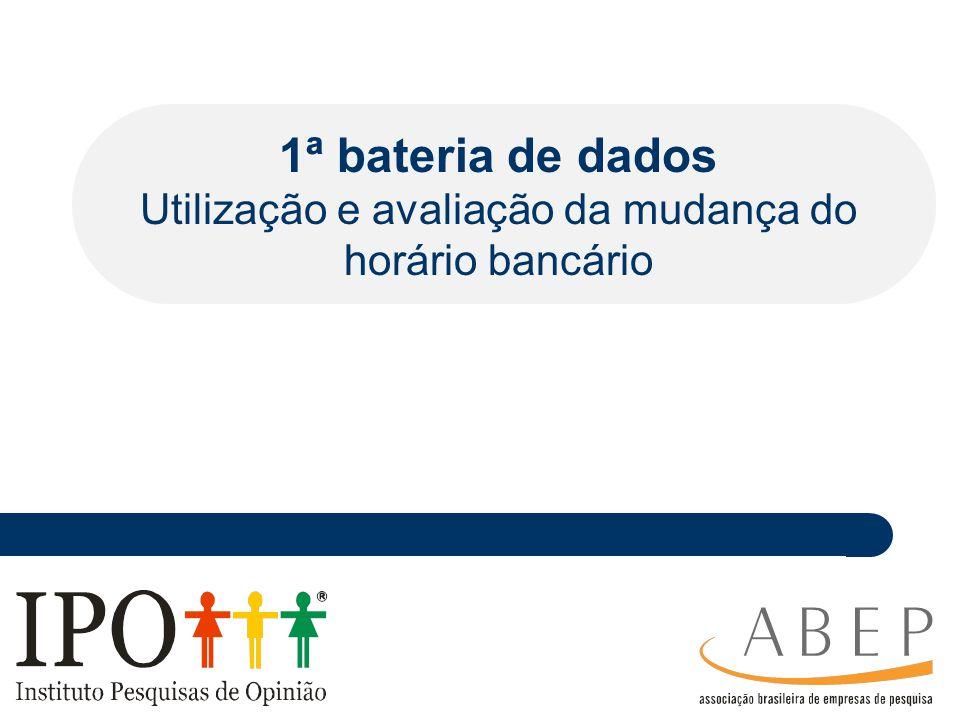 ________ _____ ____ ________ _ _______________ ___________ ________ _______ _ ___________ __ 1ª bateria de dados Utilização e avaliação da mudança do horário bancário