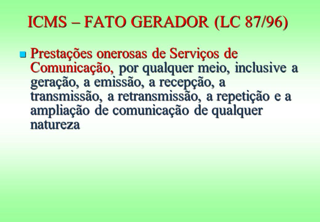 ICMS – FATO GERADOR (LC 87/96) Prestações onerosas de Serviços de Comunicação, por qualquer meio, inclusive a geração, a emissão, a recepção, a transmissão, a retransmissão, a repetição e a ampliação de comunicação de qualquer natureza Prestações onerosas de Serviços de Comunicação, por qualquer meio, inclusive a geração, a emissão, a recepção, a transmissão, a retransmissão, a repetição e a ampliação de comunicação de qualquer natureza