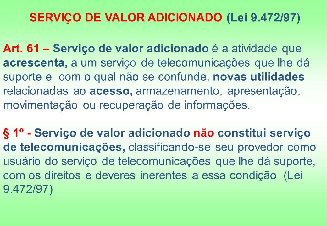 Art. 61 – Serviço de valor adicionado é a atividade que acrescenta, a um serviço de telecomunicações que lhe dá suporte e com o qual não se confunde,