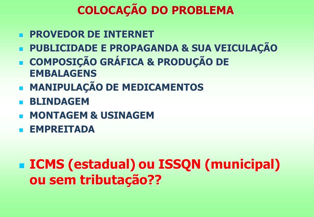 COLOCAÇÃO DO PROBLEMA PROVEDOR DE INTERNET PROVEDOR DE INTERNET PUBLICIDADE E PROPAGANDA & SUA VEICULAÇÃO PUBLICIDADE E PROPAGANDA & SUA VEICULAÇÃO COMPOSIÇÃO GRÁFICA & PRODUÇÃO DE EMBALAGENS COMPOSIÇÃO GRÁFICA & PRODUÇÃO DE EMBALAGENS MANIPULAÇÃO DE MEDICAMENTOS MANIPULAÇÃO DE MEDICAMENTOS BLINDAGEM BLINDAGEM MONTAGEM & USINAGEM MONTAGEM & USINAGEM EMPREITADA EMPREITADA ICMS (estadual) ou ISSQN (municipal) ou sem tributação?.
