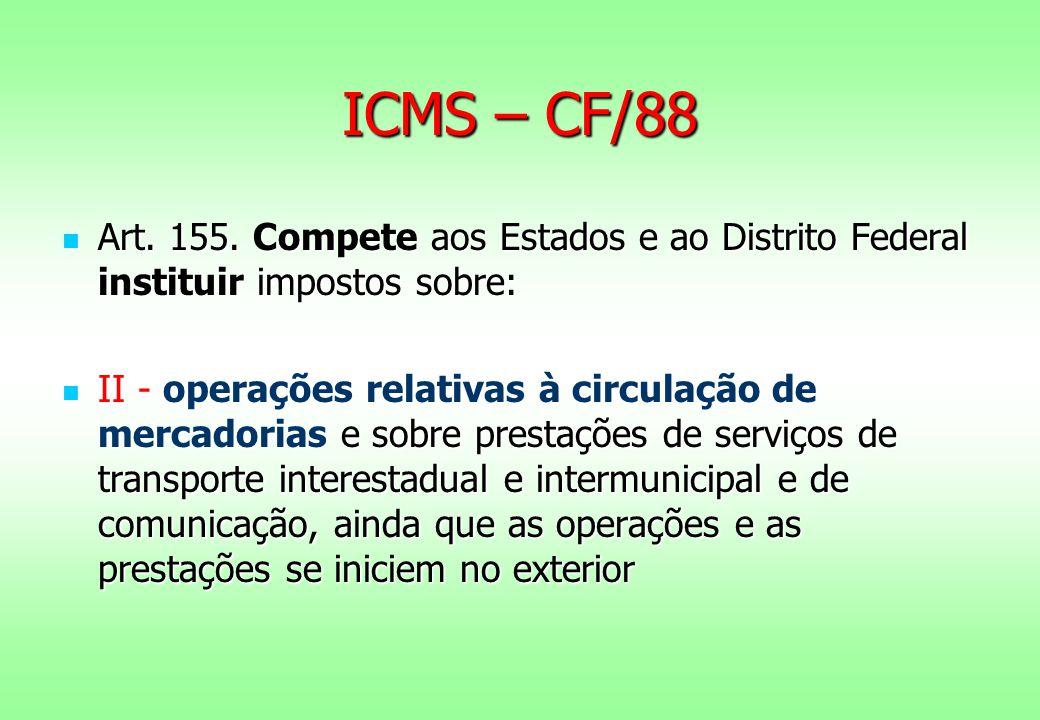 ICMS – CF/88 Art.155. Compete aos Estados e ao Distrito Federal instituir impostos sobre: Art.