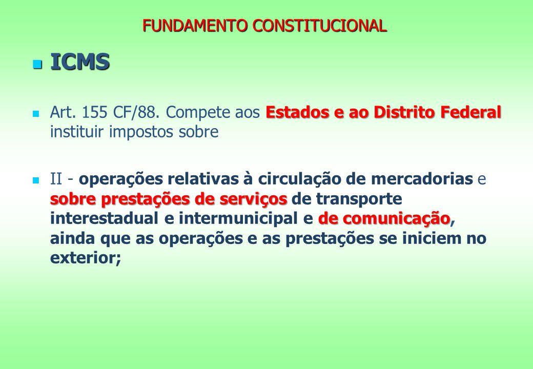 FUNDAMENTO CONSTITUCIONAL ICMS ICMS Estados e ao Distrito Federal Art. 155 CF/88. Compete aos Estados e ao Distrito Federal instituir impostos sobre s