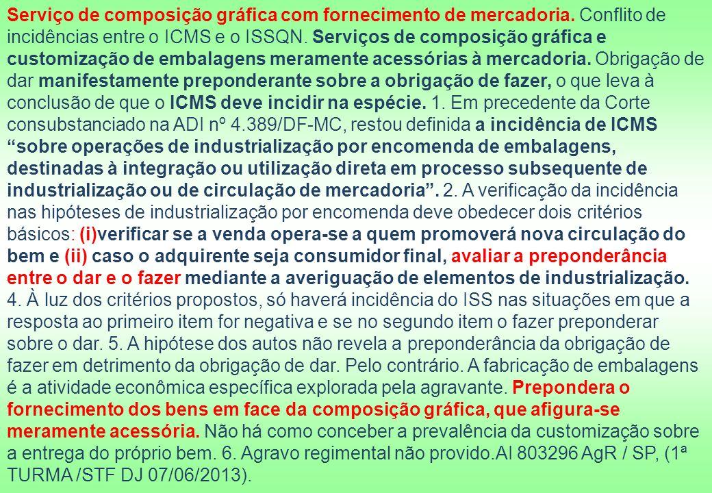 Serviço de composição gráfica com fornecimento de mercadoria. Conflito de incidências entre o ICMS e o ISSQN. Serviços de composição gráfica e customi