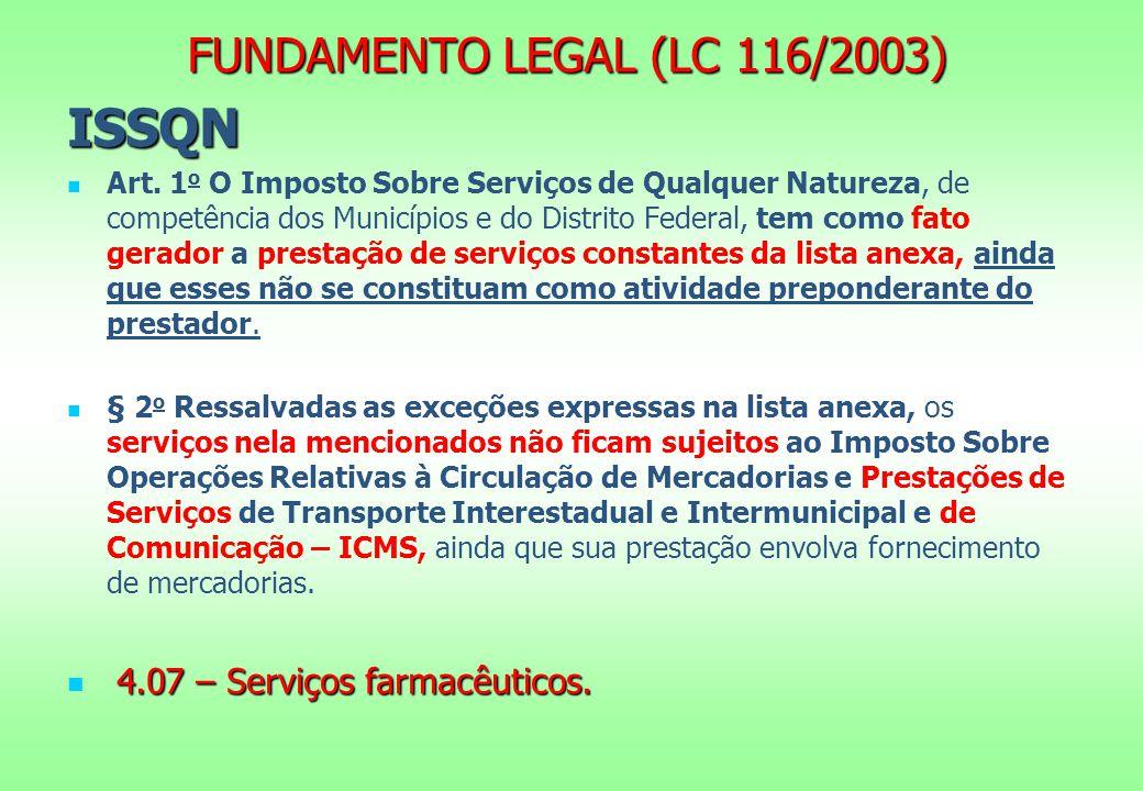 FUNDAMENTO LEGAL (LC 116/2003) ISSQN Art.