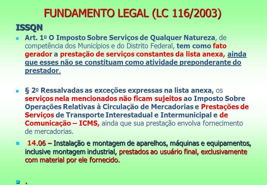 FUNDAMENTO LEGAL (LC 116/2003) ISSQN Art. 1 o O Imposto Sobre Serviços de Qualquer Natureza, de competência dos Municípios e do Distrito Federal, tem