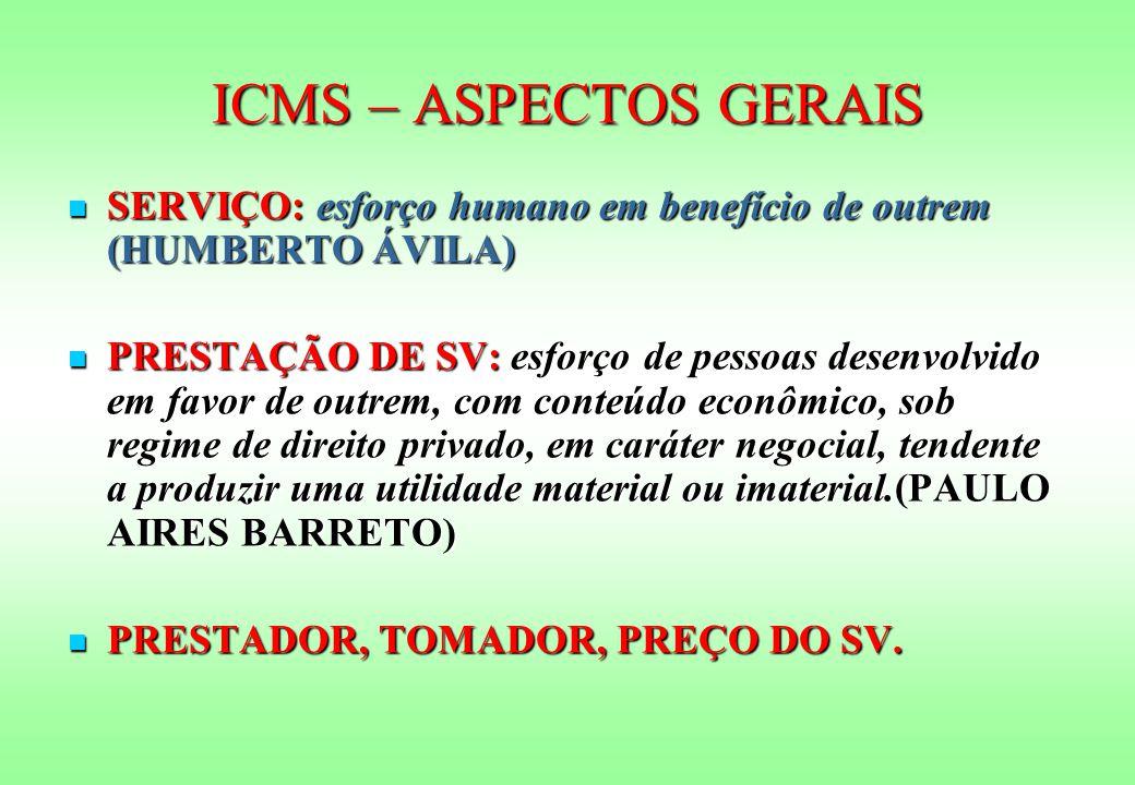 ICMS – ASPECTOS GERAIS SERVIÇO: esforço humano em benefício de outrem (HUMBERTO ÁVILA) SERVIÇO: esforço humano em benefício de outrem (HUMBERTO ÁVILA)