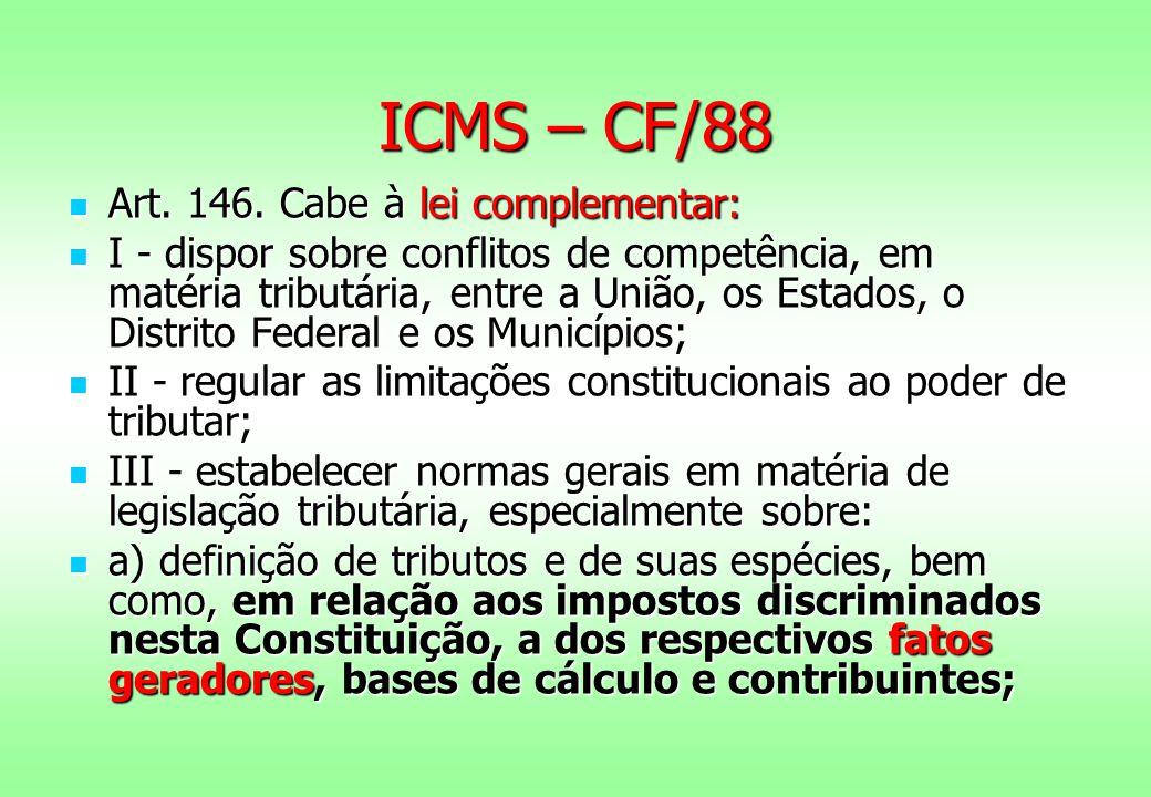 ICMS – CF/88 Art. 146. Cabe à lei complementar: Art. 146. Cabe à lei complementar: I - dispor sobre conflitos de competência, em matéria tributária, e