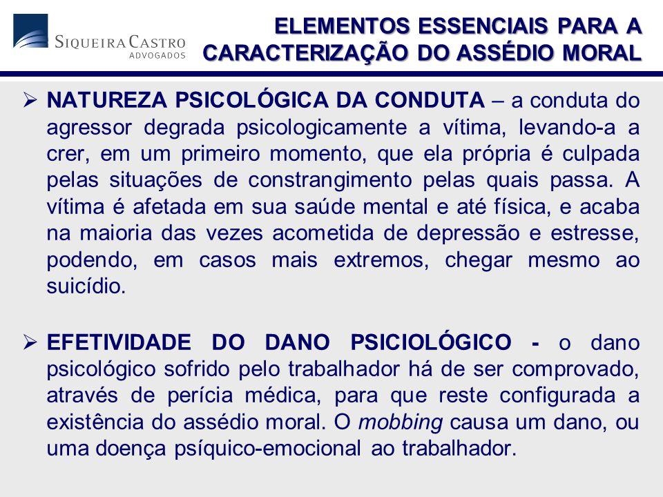  NATUREZA PSICOLÓGICA DA CONDUTA – a conduta do agressor degrada psicologicamente a vítima, levando-a a crer, em um primeiro momento, que ela própria é culpada pelas situações de constrangimento pelas quais passa.