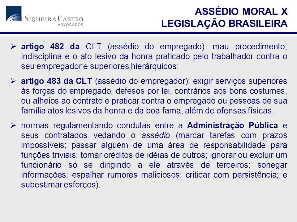  artigo 482 da CLT (assédio do empregado): mau procedimento, indisciplina e o ato lesivo da honra praticado pelo trabalhador contra o seu empregador