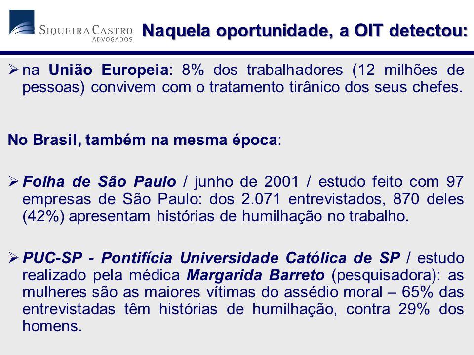  na União Europeia: 8% dos trabalhadores (12 milhões de pessoas) convivem com o tratamento tirânico dos seus chefes. No Brasil, também na mesma época