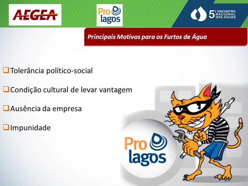 Principais Motivos para os Furtos de Água  Tolerância político-social  Condição cultural de levar vantagem  Ausência da empresa  Impunidade