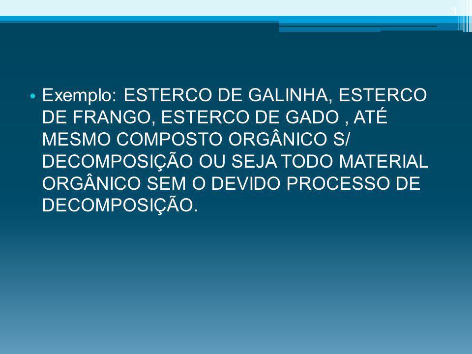 Exemplo: ESTERCO DE GALINHA, ESTERCO DE FRANGO, ESTERCO DE GADO, ATÉ MESMO COMPOSTO ORGÂNICO S/ DECOMPOSIÇÃO OU SEJA TODO MATERIAL ORGÂNICO SEM O DEVI