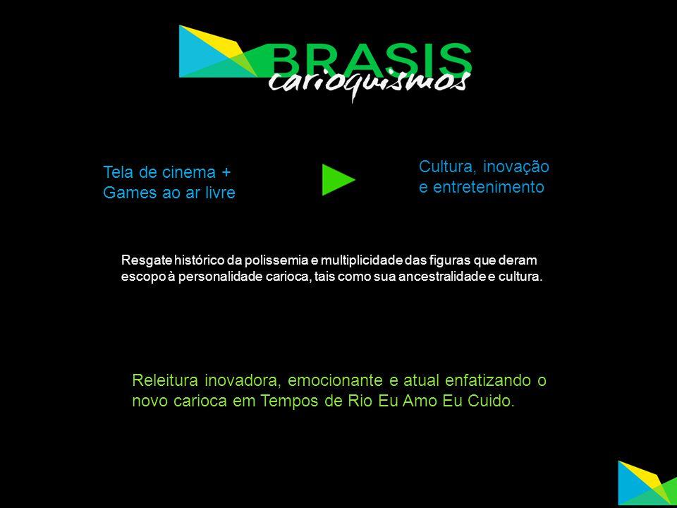 Tela de cinema + Games ao ar livre Cultura, inovação e entretenimento Resgate histórico da polissemia e multiplicidade das figuras que deram escopo à personalidade carioca, tais como sua ancestralidade e cultura.