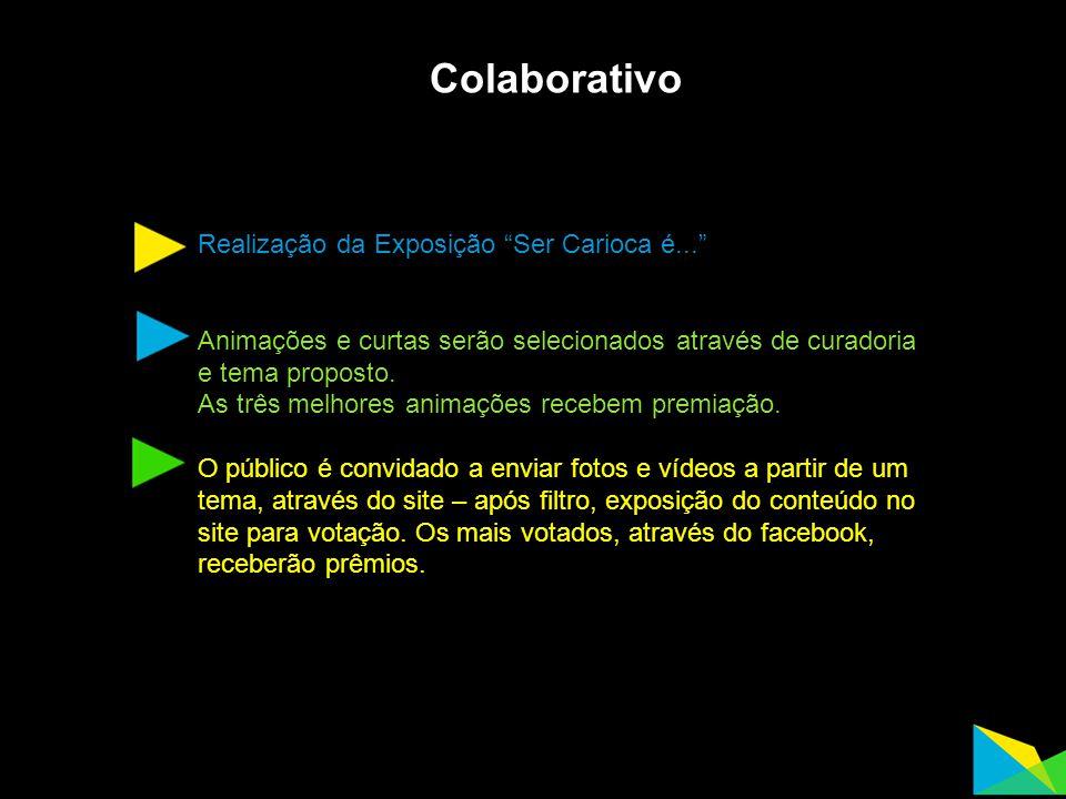 """Colaborativo Realização da Exposição """"Ser Carioca é..."""" Animações e curtas serão selecionados através de curadoria e tema proposto. As três melhores a"""