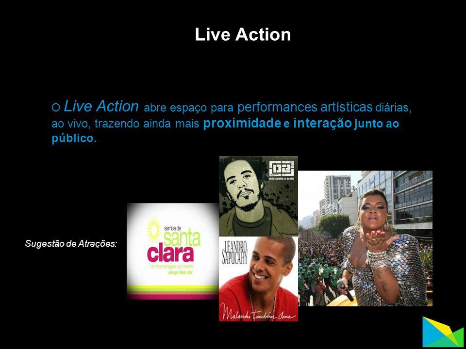 Live Action O Live Action abre espaço para performances artísticas diárias, ao vivo, trazendo ainda mais proximidade e interação junto ao público. Sug