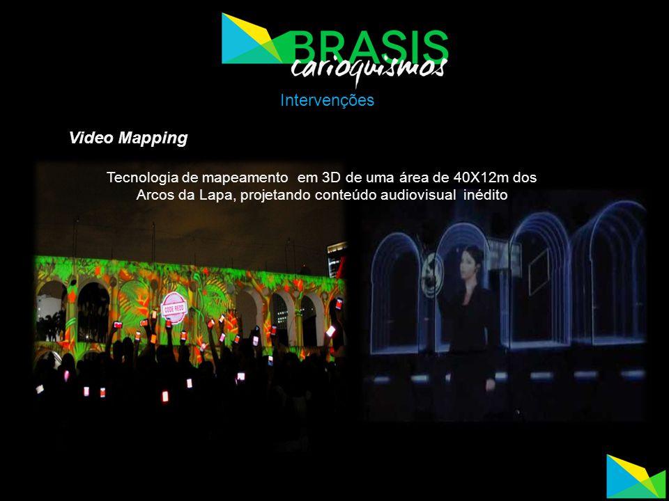 Video Mapping Tecnologia de mapeamento em 3D de uma área de 40X12m dos Arcos da Lapa, projetando conteúdo audiovisual inédito Intervenções