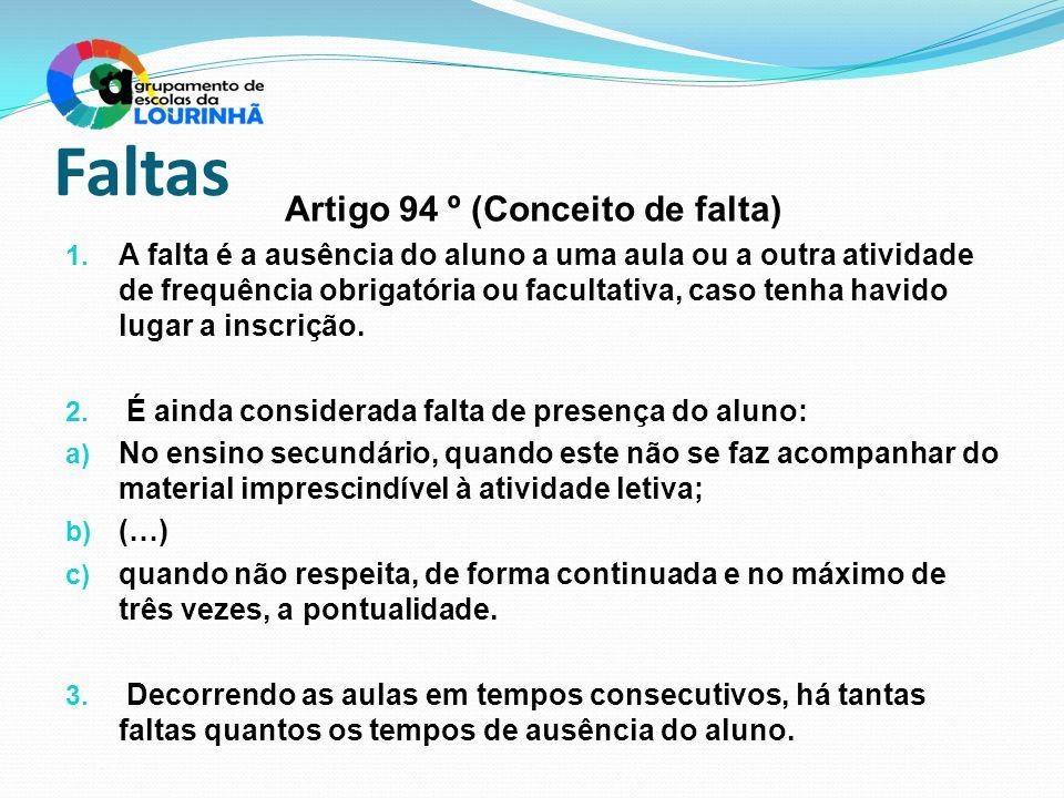 Faltas Artigo 94 º (Conceito de falta) 1. A falta é a ausência do aluno a uma aula ou a outra atividade de frequência obrigatória ou facultativa, caso