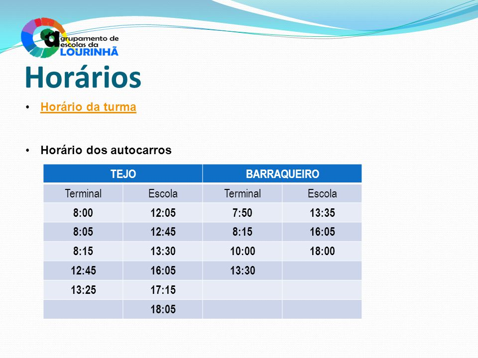 Horários Horário da turma Horário dos autocarros TEJOBARRAQUEIRO TerminalEscolaTerminalEscola 8:0012:057:5013:35 8:0512:458:1516:05 8:1513:3010:0018:0