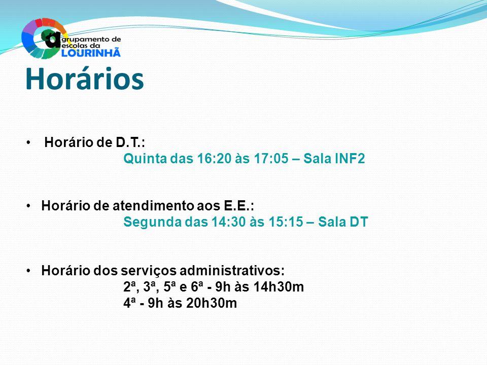 Horários Horário de D.T.: Quinta das 16:20 às 17:05 – Sala INF2 Horário de atendimento aos E.E.: Segunda das 14:30 às 15:15 – Sala DT Horário dos serv