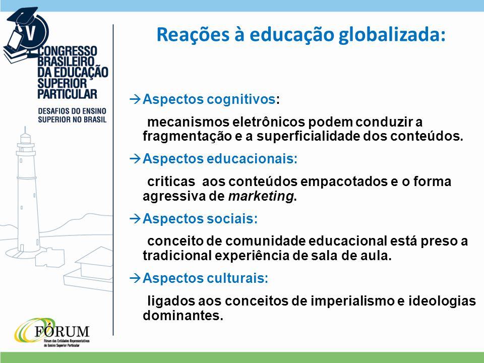 Reações à educação globalizada:  Aspectos cognitivos: mecanismos eletrônicos podem conduzir a fragmentação e a superficialidade dos conteúdos.