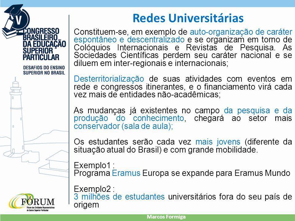 Redes Universitárias Constituem-se, em exemplo de auto-organização de caráter espontâneo e descentralizado e se organizam em torno de Colóquios Internacionais e Revistas de Pesquisa.