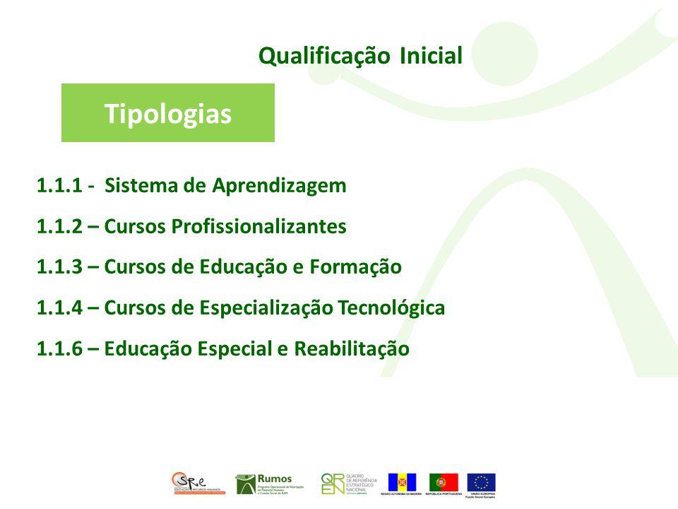 Qualificação Inicial 1.1.1 - Sistema de Aprendizagem 1.1.2 – Cursos Profissionalizantes 1.1.3 – Cursos de Educação e Formação 1.1.4 – Cursos de Especialização Tecnológica 1.1.6 – Educação Especial e Reabilitação Tipologias