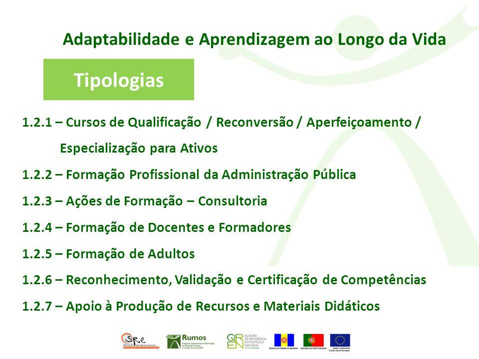 Adaptabilidade e Aprendizagem ao Longo da Vida 1.2.1 – Cursos de Qualificação / Reconversão / Aperfeiçoamento / Especialização para Ativos 1.2.2 – Formação Profissional da Administração Pública 1.2.3 – Ações de Formação – Consultoria 1.2.4 – Formação de Docentes e Formadores 1.2.5 – Formação de Adultos 1.2.6 – Reconhecimento, Validação e Certificação de Competências 1.2.7 – Apoio à Produção de Recursos e Materiais Didáticos Tipologias