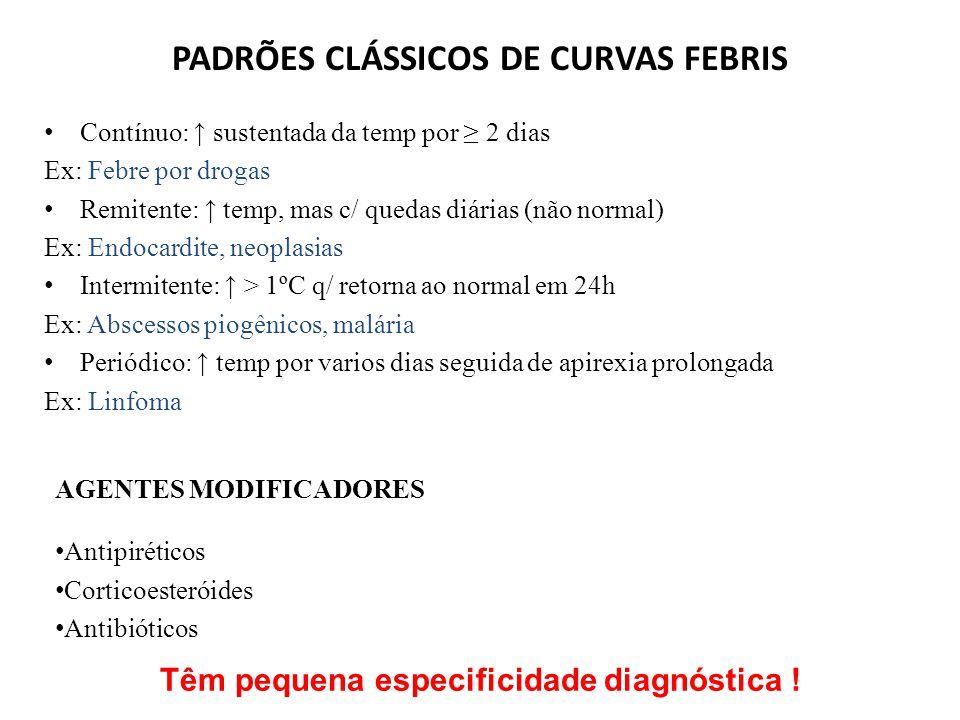 PADRÕES CLÁSSICOS DE CURVAS FEBRIS Contínuo: ↑ sustentada da temp por ≥ 2 dias Ex: Febre por drogas Remitente: ↑ temp, mas c/ quedas diárias (não normal) Ex: Endocardite, neoplasias Intermitente: ↑ > 1ºC q/ retorna ao normal em 24h Ex: Abscessos piogênicos, malária Periódico: ↑ temp por varios dias seguida de apirexia prolongada Ex: Linfoma AGENTES MODIFICADORES Antipiréticos Corticoesteróides Antibióticos Têm pequena especificidade diagnóstica !