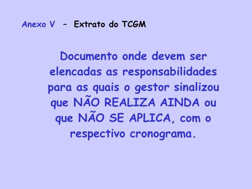 Anexo V – Extrato do TCGM Documento onde devem ser elencadas as responsabilidades para as quais o gestor sinalizou que NÃO REALIZA AINDA ou que NÃO SE APLICA, com o respectivo cronograma.
