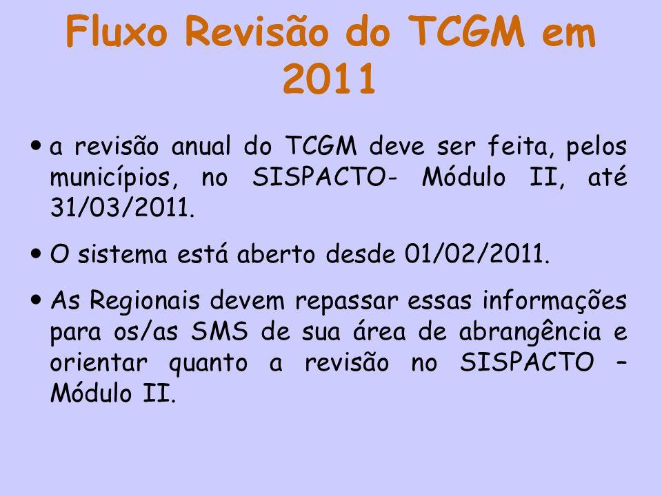 Fluxo Revisão do TCGM em 2011 a revisão anual do TCGM deve ser feita, pelos municípios, no SISPACTO- Módulo II, até 31/03/2011. O sistema está aberto