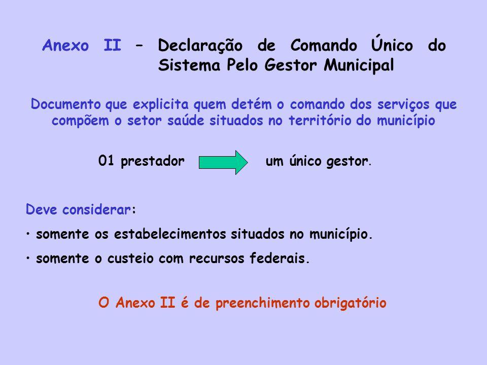 Anexo II – Declaração de Comando Único do Sistema Pelo Gestor Municipal Deve considerar: somente os estabelecimentos situados no município. somente o