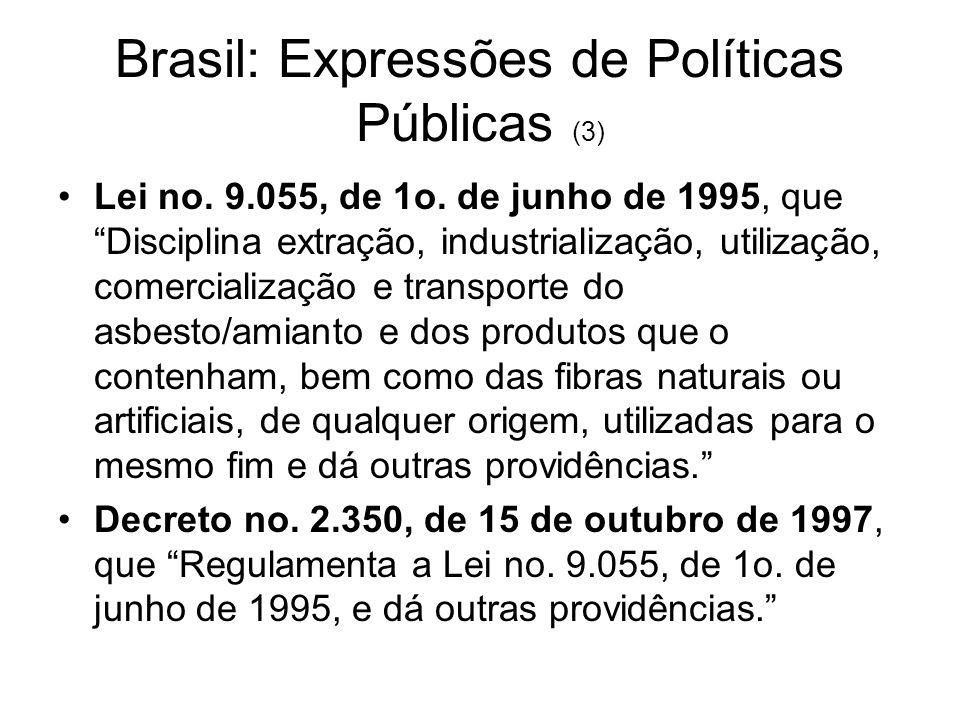 Tanto a Lei 9.055, de 1995, como o Decreto 2.350, de 1997, da forma como foram redigidos, proíbem a extração, produção, industrialização, utilização e comercialização de outras formas de asbesto, que não a crisotila, e permitem - na verdade, instituem - a extração, industrialização, utilização e comercialização do asbesto/amianto da variedade crisotila, extraída no Brasil, e de nosso país também exportada.