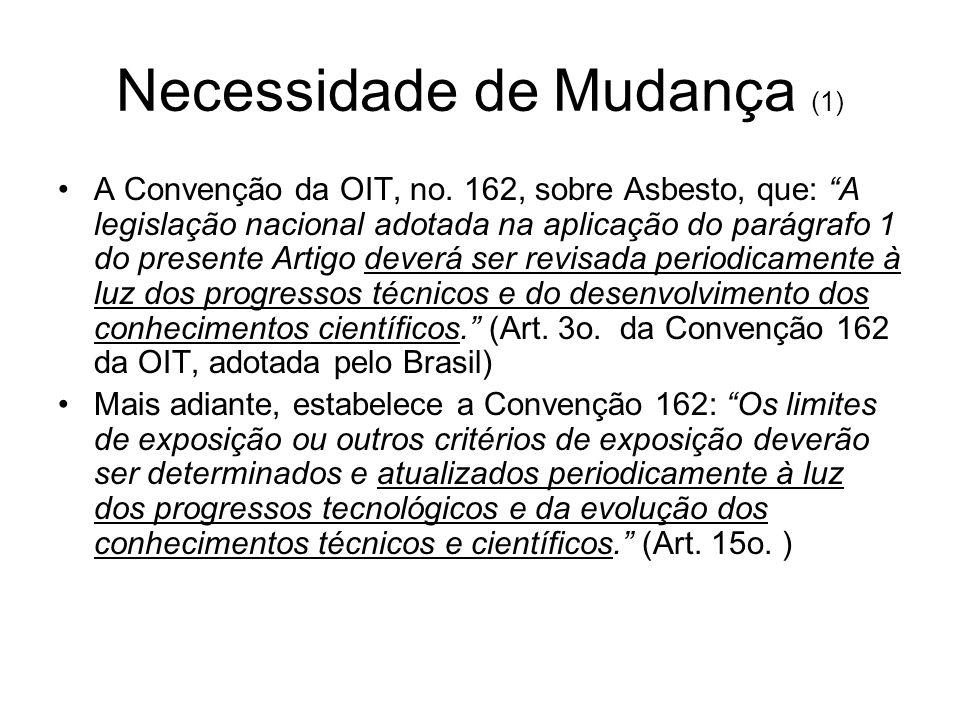 Necessidade de Mudança (2) ...apesar destas evidências, mantém-se no Brasil um vivo debate sobre as constatações dos efeitos do amianto sobre a saúde.