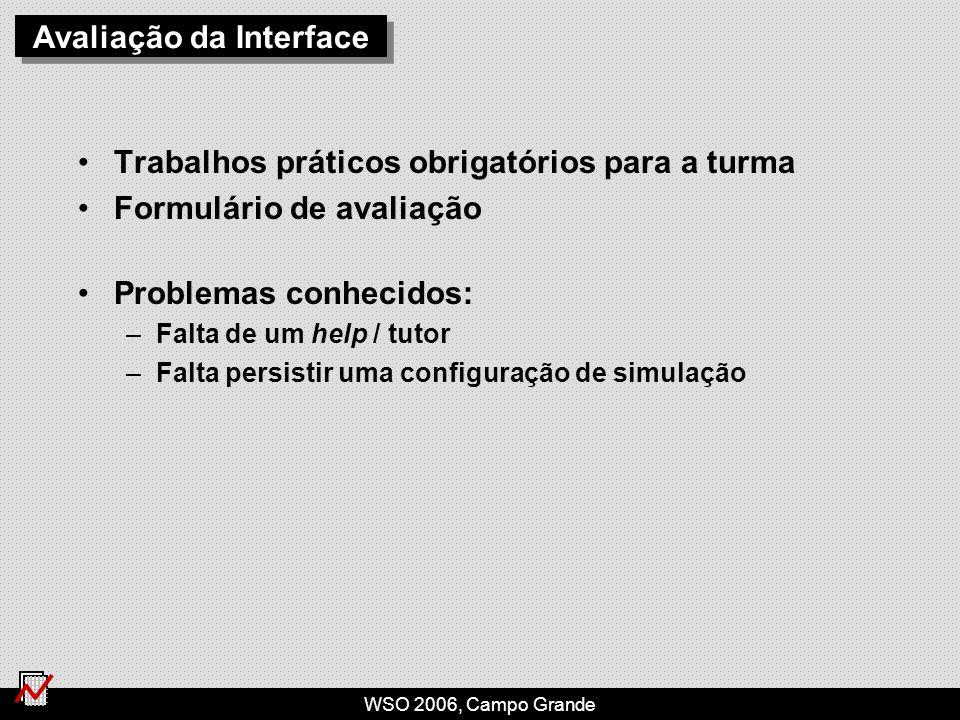 WSO 2006, Campo Grande Avaliação da Interface Trabalhos práticos obrigatórios para a turma Formulário de avaliação Problemas conhecidos: –Falta de um help / tutor –Falta persistir uma configuração de simulação