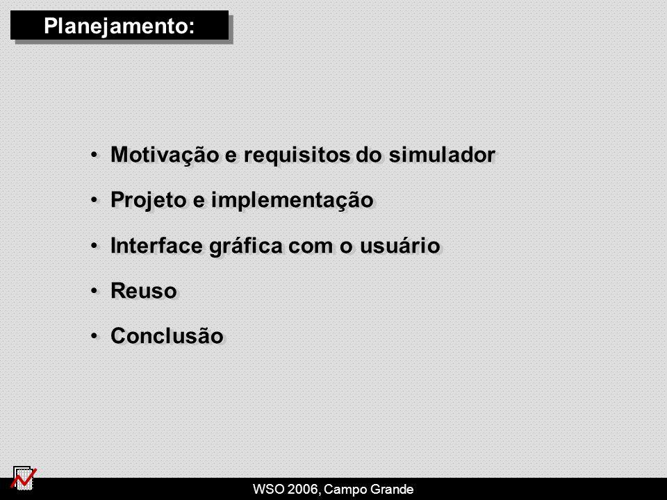 WSO 2006, Campo Grande Motivação e requisitos do simulador Projeto e implementação Interface gráfica com o usuário Reuso Conclusão Motivação e requisitos do simulador Projeto e implementação Interface gráfica com o usuário Reuso Conclusão Planejamento: