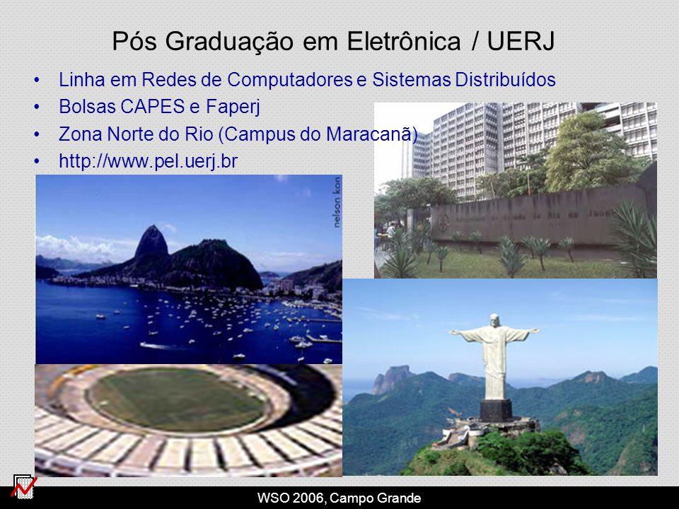 WSO 2006, Campo Grande Pós Graduação em Eletrônica / UERJ Linha em Redes de Computadores e Sistemas Distribuídos Bolsas CAPES e Faperj Zona Norte do Rio (Campus do Maracanã) http://www.pel.uerj.br