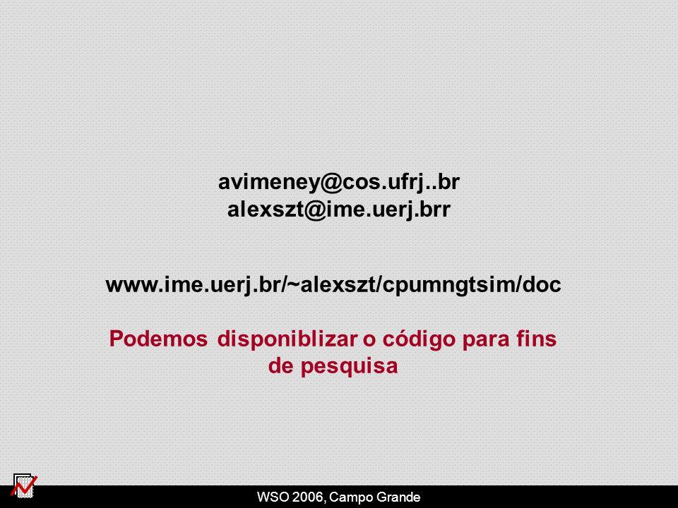 WSO 2006, Campo Grande avimeney@cos.ufrj..br alexszt@ime.uerj.brr www.ime.uerj.br/~alexszt/cpumngtsim/doc Podemos disponiblizar o código para fins de pesquisa