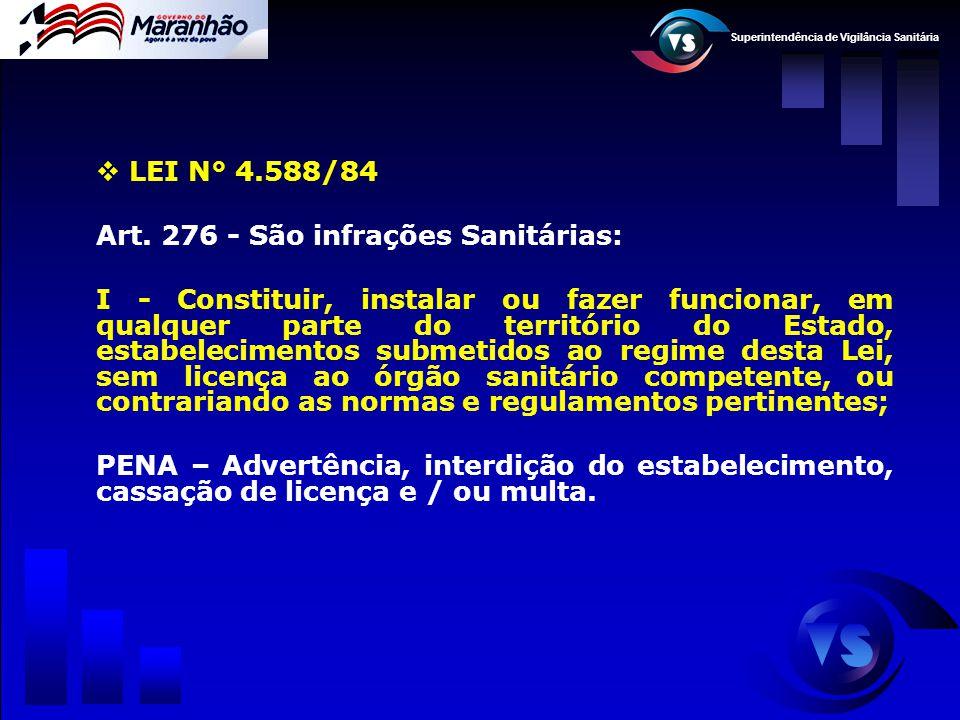 Superintendência de Vigilância Sanitária  LEI N° 4.588/84 Art. 276 - São infrações Sanitárias: I - Constituir, instalar ou fazer funcionar, em qualqu