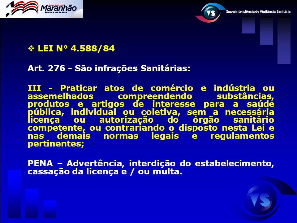 Superintendência de Vigilância Sanitária  LEI N° 4.588/84 Art. 276 - São infrações Sanitárias: III - Praticar atos de comércio e indústria ou assemel